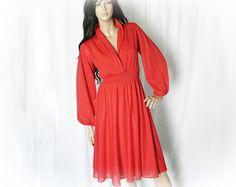 Vintage 70s Red Dress S M Pleated Disco Swing at PopFizzVintage, $33.00