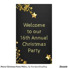 Welcome to our 16th Annual #Christmas #Party, you can change the text, Black Gold #Party Banner