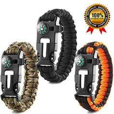 Premium Survival Bracelet-Pack of 3-Outdoor Emergency Tool Kit 5 in 1 With Compass,Flint Fire Starter,Emergency Scraper/Knife,Whistle,Rescue Rope-Perfect for Camping,Hiking,Trekking,Travel. For product info go to:  https://all4hiking.com/products/premium-survival-bracelet-pack-of-3-outdoor-emergency-tool-kit-5-in-1-with-compassflint-fire-starteremergency-scraperknifewhistlerescue-rope-perfect-for-campinghikingtrekkingtravel/