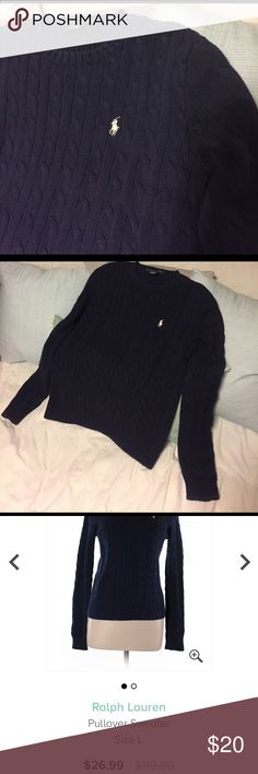 Ralph Lauren Navy cable knit sweater ThredUP is trying to resell this for $26.99 while giving me only 7$. I know I never paid $119 for this, either. I am discounting it even further even after having paid to have it returned due to their horrible pay structure. Durable and warm. Great condition. Ralph Lauren Sweaters Crew & Scoop Necks