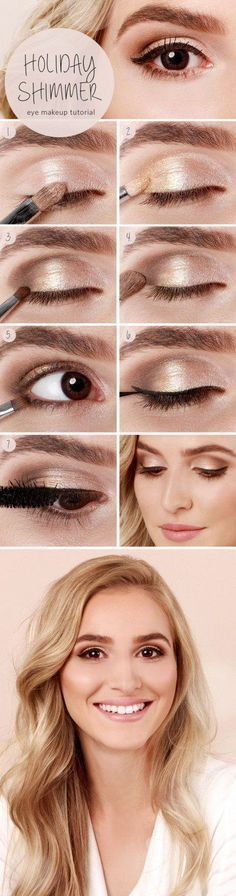Champagne Shimmer Holiday Eye Makeup | Gorgeous & Easy Eye Makeup Tutorials For Brown Eyes | Eye Shadow Tutorials at http://makeuptutorials.com/gorgeous-easy-eye-makeup-tutorials-brown-eyes-eye-shadow-tutorials/
