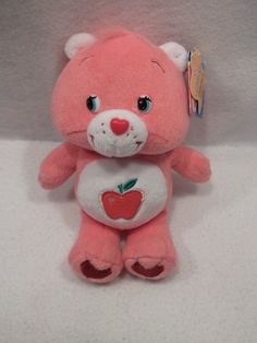 "2005 Care Bear Smart Heart Bear Apple tummy 9"" plush toy TCFS USED"
