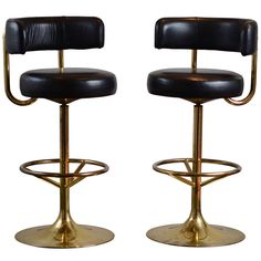 Pair of vintage swivel brass bar stools | From a unique collection of antique and modern stools at https://www.1stdibs.com/furniture/seating/stools/