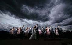 Matt Shumate Photography at arbor crest wedding portrait bridal party awesome dramatic stormy sky