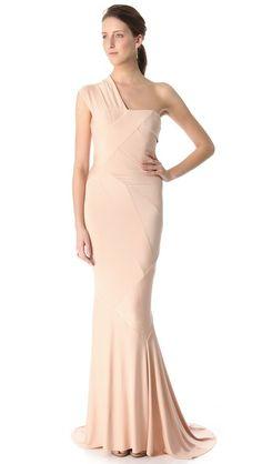 Donna Karan New York One Shoulder Evening Gown #adornbrides