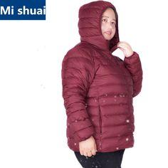 eef62f05756 Women Ultra Light Duck Down Jacket Plus Size 6XL 7XL Autumn Winter Hooded  Down Coat Overcoat