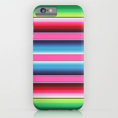 20% Off + Free Shipping - Ends Tonight at Midnight PT! Pink Green Blue  Mexican Serape Blanket Stripes iPhone   iPod Case 34a8d2528e4b6