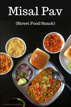 Chatpata misal pav is a spicy, tangy and lip-smacking Indian curry/street food – bean sprouts are cooked in a spicy gravy, topped with crispy fried savory chiwda or mixture and served with pav/slider buns. Bean Recipes, Snack Recipes, Cooking Recipes, Snacks, Sprout Recipes, Yummy Recipes, Recipies, Indian Food Recipes, Vegetarian Recipes