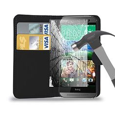 Black Leather Wallet Case Cover Pouch With Tempered Glass Screen Protector For All New HTC Model HTC Desire 620/320/820 OR HTC One Mini 2/M8/M9/M9  -- Find out more about the great product at the image link.