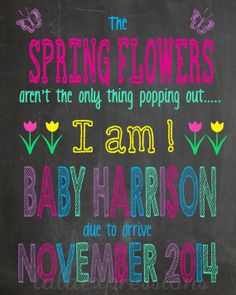 Spring Chalkboard Pregnancy Announcement Sign, New Baby Reveal ...