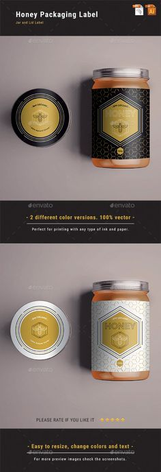 Honey Packaging Label Print-ready honey jar label and lid label. Text/Font and Colors can be altered as needed. All Image are in vector format, so can customise easily. Jar Packaging, Honey Packaging, Food Packaging Design, Brand Packaging, Honey Jar Labels, Honey Label, Honey Jars, Honey Bottles, Honey Logo