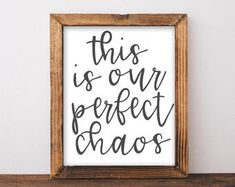 Printable Wall Art, This Our Perfect Chaos entryway sign, Farmhouse Decor, Printables, Home decor, Rustic Style, Living Room Wall Decor Art Victorian Decor, Vintage Decor, Rustic Decor, Farmhouse Decor, Rustic Style, Cute Home Decor, Fall Home Decor, Cheap Home Decor, Luxury Homes Interior