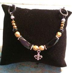 Beaded Stethoscope Charm  New Orleans Saints Colors  by DungleBees, $9.99