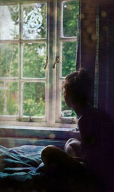 She sat on the window sill, staring out the window, waiting. Her eyes felt strained as she continued to stare into the green oblivion of the woods, hoping, praying that he would keep his promise and come back. But even she knew that he was not one to keep his word, even if it meant never seeing her again.