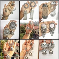 To shop for Oxidised Jewels online Pakistani Bridal Jewelry, Indian Bridal Jewelry Sets, Indian Jewelry Earrings, Jewelry Design Earrings, Ear Jewelry, Antique Jewellery Designs, Fancy Jewellery, Stylish Jewelry, Fashion Jewelry