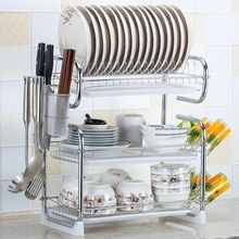 Multi Use 2 3 Layer Stainless Steel Cutlery Stand Shelf Cutlery Dish Rack Kitchen Dish Rack In 2020 Plate Racks In Kitchen Kitchen Storage Organization Kitchen Storage