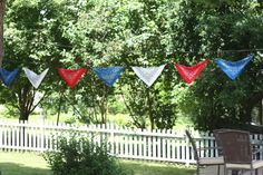 Bandanas on a rope.  Cheap and easy decor for western themed party.