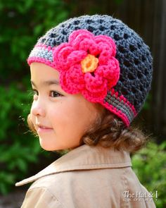 CROCHET PATTERN - Flowerific - a beanie hat with layered flower in 5 sizes (Newborn, Baby, Toddler, Child, Adult) - Instant PDF Download