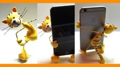 Making a fun and easy polymer clay cat holder for a cell phone! Polymer Clay Cat, Polymer Clay Figures, Polymer Clay Sculptures, Polymer Clay Animals, Polymer Clay Projects, Sculpture Clay, Clay Cats, Clay Figurine, Clay Tutorials
