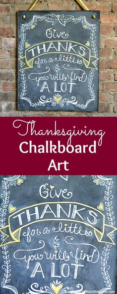 DIY Thanksgiving Chalkboard Art ... decorate your home for the holidays with this easy Thanksgiving decor idea! This DIY Thanksgiving decoration is perfect for a wall, mantle, or living room. An easy step by step lettering tutorial will help you recreate this simple sign on a budget. Can be customized for any decor style from boho to modern to farmhouse! | Hello Little Home