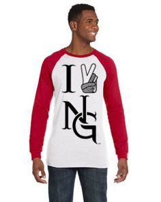 Two tone Baseball style long sleeve shirt. I Peace NG!!! www.etsy.com/shop/nativegorilla
