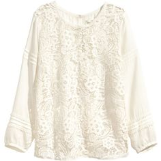 H&M Lace blouse (505 UAH) ❤ liked on Polyvore featuring tops, blouses, shirts, blusa, natural white, lace trim shirt, lace sleeve shirt, lace up blouse, lace up shirt and 3/4 sleeve shirts