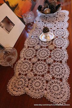 Crochet Table Runner For Sale on #Etsy  by CrochetedByLyubava #crocheted #crochetrunner #tablerunner #ecrudoily #crochetlace #runner #crochet #doily