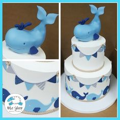 This tiered buttercream baby shower cake features flags that circle the top and bottom tiers in shades of blues and greys. A fondant sculpted whale is a great addition as the cake topper. Whale Birthday Parties, Shark Birthday Cakes, Boys First Birthday Cake, Baby Birthday, Baby Shower Cakes For Boys, Baby Shower Brunch, Baby Shower Parties, Baby Boy Shower, Nautical Baby Shower Cakes