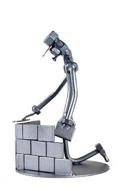 Gift to the Bricklayer / Brick Mason Gift Handmade ornament figurine - MetalDiorama Metal Art Sculpture Welding Art Projects, Metal Art Projects, Metal Crafts, Free Standing Sculpture, Metal Art Sculpture, Metal Yard Art, Scrap Metal Art, Junk Art, Wire Art