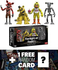 Foxy, Gold Freddy, Chica, Endoskeleton Freddy: ~2 Funko x Five Nights at Freddy's Mini-Figure Set + 1 FREE Video Games Themed Trading Card Bundle [88637]