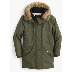 J.Crew Petite perfect winter parka (17.600 RUB) ❤ liked on Polyvore featuring outerwear, coats, quilted parka, j crew parka, water resistant coat, evening coat and quilted parka coat
