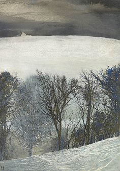 'Winter Trees' by Mary Anne Aytoun Ellis (black ink, acryclic white and egg tempera on paper mounted on gessoed panel) Landscape Artwork, Watercolor Landscape, Abstract Landscape, Watercolor Art, Winter Trees, Winter Art, A Level Art, Seascape Paintings, Winter Landscape