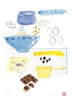 Kitchen art Chocolate cake recipe 8X10 print Blue kitchen decor Bakery poster Watercolor food. $25.00, via Etsy.