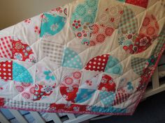 Disappearing Heart Quilt Tutorial w photos, Use Layer Cake