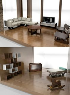 Classic Contemporary Furniture for modern dollhouses showing miniature living room set, including Modern Dollhouse Furniture, Barbie Furniture, Miniature Furniture, Modern Baby Furniture, Contemporary Furniture, Furniture Design, Tiny Furniture, My Doll House, Barbie House