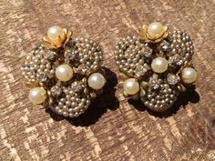 Miriam Haskell Earrings Vintage Signed Jewelry Seed Pearls Rhinestone Clip On