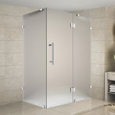 Aston Avalux x x Completely Frameless Hinged Shower Enclosure, Frosted Glass Finish: Brushed Stainless Steel Frameless Shower Enclosures, Frameless Shower Doors, Bathtub Doors, Glass Hinges, Glass Door, Luxury Home Furniture, Glass Shelves, Frosted Glass, Small Bathroom