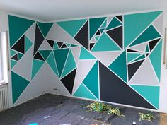 Creative DIY Wall Art Ideas on a Budget - Geometric Creative DIY Wall Art Ideas on a Budget - Geometric Gemoteric wall patterns - blues and greens Wall Paint Patterns, Painting Patterns, Room Wall Painting, Room Paint, Tape Painting, Bedroom Wall Designs, Bedroom Decor, Bedroom Kids, Kids Rooms