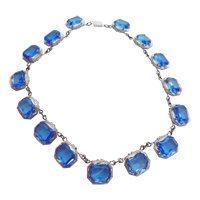 Victorian Revival Blue Glass Necklace Vintage by CollectionsbyAnn #vogueteam #blueglassnecklace #artdconecklace