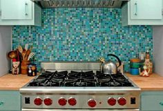 The backsplash is great, but let's take a look at that sexy gas range...