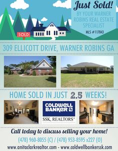 Just SOLD this 4 Bdrm/2.5 Bath home in Oxton Subdivision at 309 Ellicott Drive, Warner Robins GA 31088 (MLS # 117843).