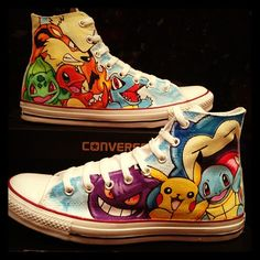 Pokemon Converse Customs by VeryBadThing on DeviantArt Converse Noir, Converse All Star, Converse Shoes, Shoes Sneakers, Sneakers Women, Shoes Women, Women's Shoes, Painted Converse, Painted Canvas Shoes