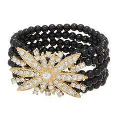 5 row black tone beaded stretch bracelet featuring a crystal rhinestone studded floral focal.