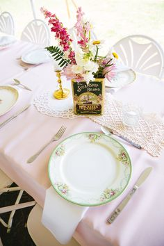 Anna & Anthony's wedding reception tables were so lovely! Photo by Kait Miller Photography - Southern Vintage Table Vintage Tins, Vintage Table, Vintage Metal, Wedding Reception Tables, Wedding Day, Metal Tins, Trays, Southern, Anna