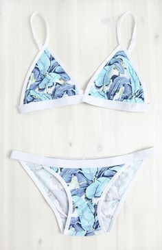 Mosmann Australia | Blue Congo String Bikini Bottoms - Blue Leaf Print | Clothes | Peppermayo