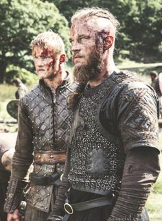 Vikings. Ragnar and Bjorn after the battle with Jarl Borg.