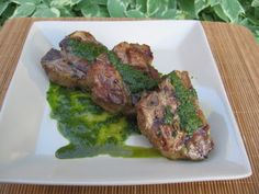 Pan Seared Pork Chops With Cilantro Mint Relish