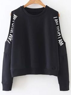 4a78642ed92 SheIn offers Black Letter Print Open Shoulder Sweatshirt   more to fit your  fashionable needs.