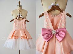 Lace Taffeta Tulle Flower Girl Dress Junior Bridesmaid Dress with Bow F00120