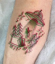 Old-school 3D - brilliant. Anaglyph alien abduction arm tattoo by winstonthewhale - #tattoos #aliens
